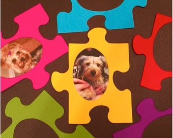 Puzzle Piece Photo Frame Die Cuts! Colorful and Unique Picture Frame Die Cuts! Set of 12 Multi-Colors! Great for Scrapbooks, Cards, etc!