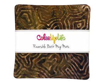 Earthy Brown Batik Fabric Coasters - Set of 4 - brown coasters - mug mats - reversible coasters - drink coasters - hostess gift