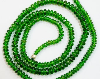 natural gem stone chrome diopside smooth beads complete necklace top quality 69 carats 18 inches 3 to 4 mm