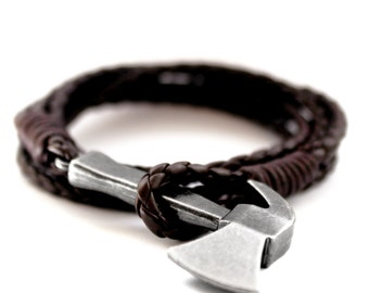 Dark brown axe bracelet - dark brown axe bracelet -.