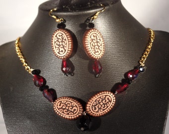 brown and dark red necklace and earring set