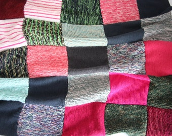 Vintage Cover Handmade wool blanket Multicolor 1970 cocooning couch bed ladder plaid steamer rug coverlet wrapper envelope robe cot clothing