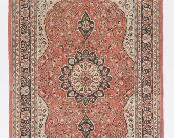 6.6x10.8 Ft  Vintage Turkish Rug. Decorative old handmade carpet made of wool and cotton. Ideal for traditional homes. Y206