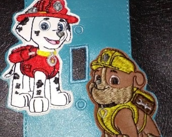 Paw Patrol Inspired light switch plate Marshall and Rubble