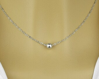 Bead necklace , sterling silver 925