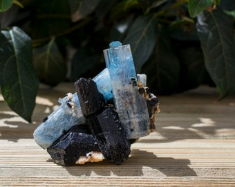 NEW!!! Aquamarine and Black Tourmaline Mineral Specimen