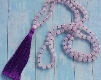 The Perfect Balance Mala * 108 Mala Beads * Yoga Mala Necklace * Rosequartz, Pink Jade * Boho Jewelry * Coco & Lime