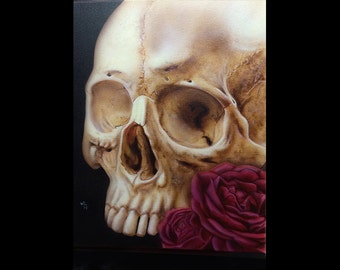 Airbrushed skull and rose on canvas
