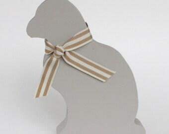 Wooden Mouse Grey Cat Ornament, Cat Shelf Ornament, Grey Cat