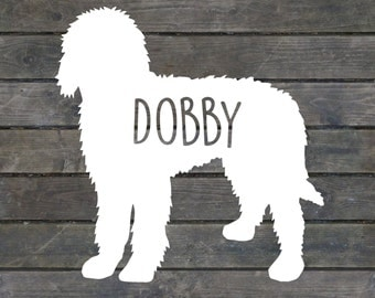 Goldendoodle Silhouette Name Decal