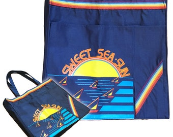 Vintage 70s Canvas Beach Tote With Rainbow Banding