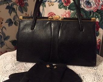 Black  vintage 1950's lizard print leather purse