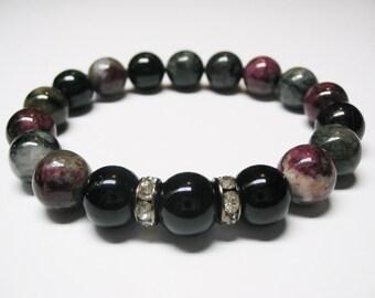 Multicolor Tourmaline Bracelet-Black Tourmaline Bracelet-Energy Bracelet-Protection Bracelet-Power Bracelet-Free Shipping Mala Bracelet