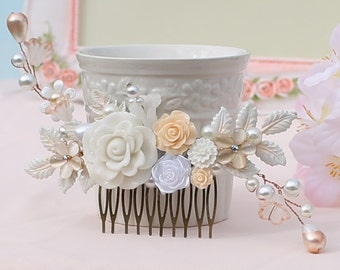 Soft peach ivory Bridal comb, Peach wedding flower collage, Peach vine comb, Bridal gift comb, Brides maids gift hair accessory. TR8