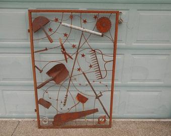 Rusty recycled metal garden gate