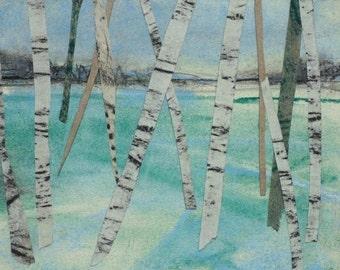 Spring landscape, birch trees, forest, woodlands, mixed media, pastel, charcoal, graphite, Original Art Postcard 7, collage, Yorkshire
