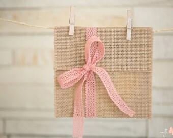 SET of 5 Natural Linen Burlap cd/dvd cases/pockets/envelopes with dusty rose cotton lace ribbon. Photography linen burlap packaging