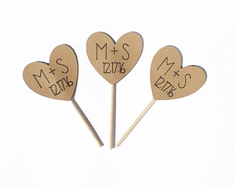 Wedding cupcake toppers.  Bachelorette shower cupcake toppers.   Wedding date cupcake toppers.   Love cupcake toppers.  Kraft paper cupcake