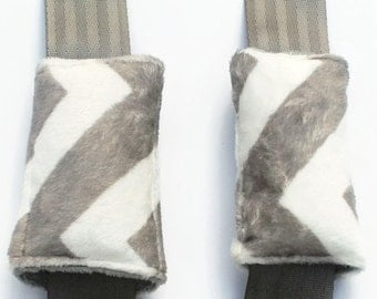 Gray Chevron Minky Seat Belt Strap Covers, Reversible Strap Covers