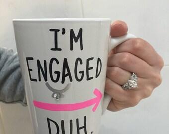 Engagement mug, engaged mug, engagement presents