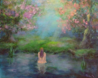 Art canvas painting Women nude personalized gift Valentines Day gift Landscape painting Fairy forest art Fantasy art Lake decor wall art
