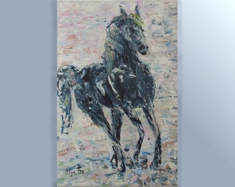 Sale canvas art Gray horse Modern acrylic painting holiday gift Abstract picture Palette knife wall art White room decor horse painting