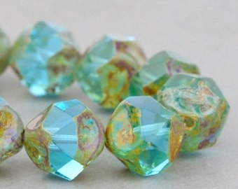 Czech Glass Beads - Central Cut Beads - Picasso Beads - Aqua Green Mix Transparent with Picasso Beads -  9mm Beads - 15 Beads