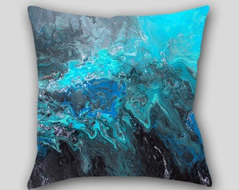 Throw pillow, Black Teal turquoise blue Abstract art, Designer Home decor, Decorative Accent Pillow finished, Cover Case Sofa cushion, Couch