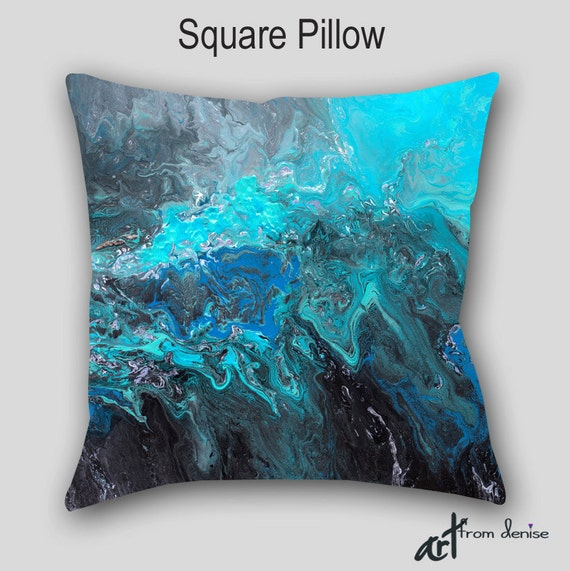 Throw Pillow Black Teal Turquoise Blue Abstract Art Designer