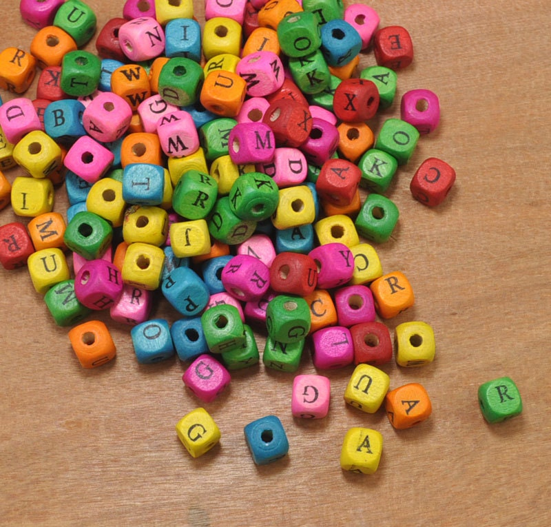 Wood Alphabet Letter Beads,200pcs Wood Cube beads,Mixed ...