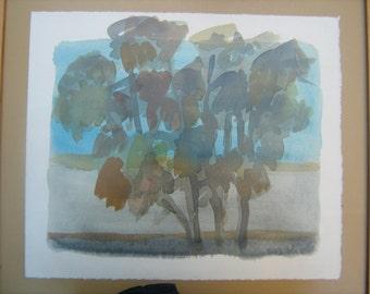 Watercolor Eucalyptus Trees