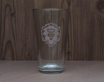 Allied Humans Inspired Etched Glass -Drinking cup - whiskey glass - pint glass imperial pub beer mug PC Game MMORPG