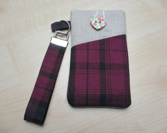 Laura Ashley iPod touch cover, iPhone tartan case, fabric iPhone case, iPhone 5C sleeve, cell phone sleeve, iPhone 6 cover, tartan Xperia