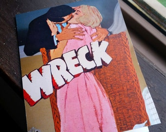 "Original Collage Greeting Card ""Wreck"" - Mixed Media"