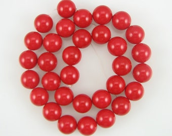 """12mm red shell pearl round beads 16"""" strand 1005"""