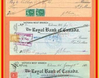 7 Vintage Checks / Promissory Note / 1915 to 1947
