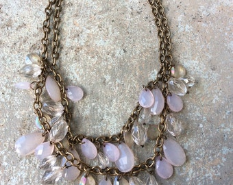 Light pink and bronze necklace