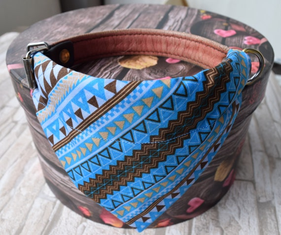 """Bandana """"Woodster"""" Bandanas for small or medium sized dogs cats, brown blue"""