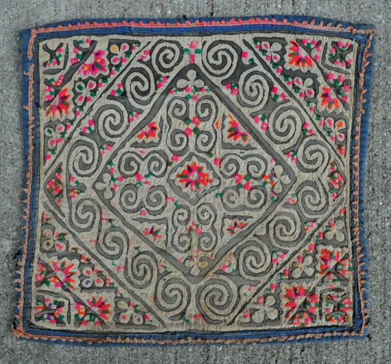 """Antique Embroidery Textile from Miao indigenous Chinese ethnic people - 10"""" x 9"""" - 25 x 23 cm. - Free shipping!"""