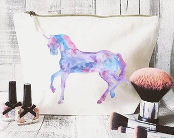 Unicorn makeup bag- Cosmetic bag- Unique gift- Toiletry bag- large cosmetic bag- Inspirational quote- Personalised cosmetic bag-Quote bag