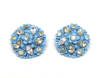 Precious Clear Rhinestone Molded Baby Blue Flower Vintage Estate Screw Earring