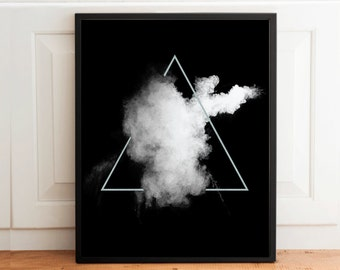 Geometric Abstract Poster, White Powder and Silver Triangle, Instant download Print, Realistic Print, 50x70cm, A3