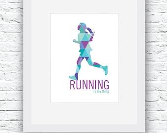 Running Decoration, Runner Girl, Running Wall Art, Running Art, Runner Decor, Running Poster, Running Gift, Marathon Gift
