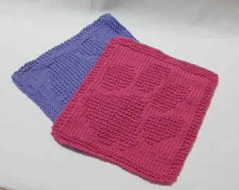 Paw Print Handmade Knitted Dish Cloths