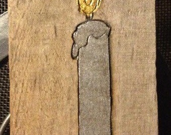 Wood Burned hand painted candlestick ornament