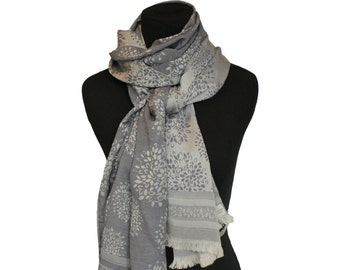 Rectangular cotton silk scarf,Grey scarf,Cotton scarf floral,Flower scarf,Floral border,Gifts for her,Long scarf