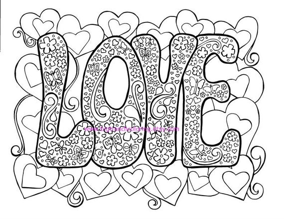 Love adult coloring page hippie valentine 39 s day for Hippie coloring book pages
