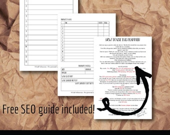 SEO optimisation planner printable, business planner, marketing planner, Etsy SEO planner, SEO help, A5 or A4