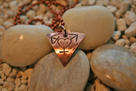 """Transgender """"Love"""" solid copper necklace"""