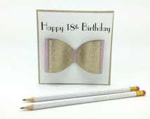 Luxury Handcrafted 18th Birthday Bow Card - Special 18th Birthday Card - Personalised 18th Birthday Card - Gift Boxed Card - 18th Birthday